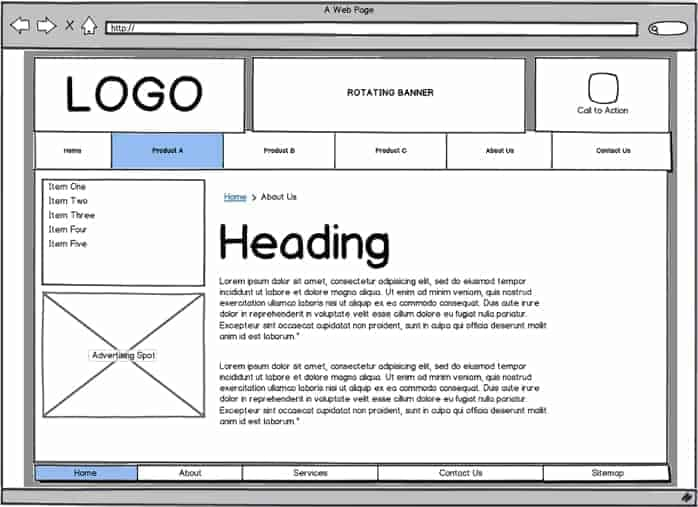 Toronto Web Design Wireframes