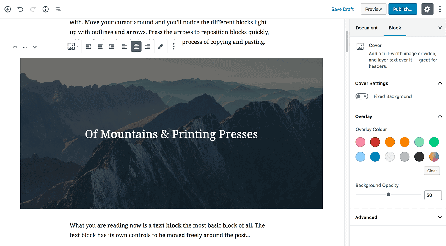 Gutenberg with image block and options