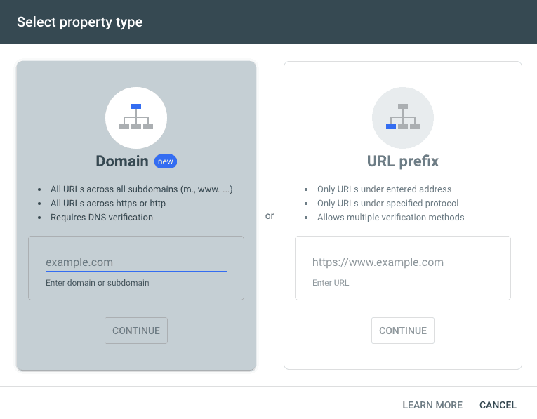 Domain and URL Prefix Options for submitting sitemap to Google Search Console